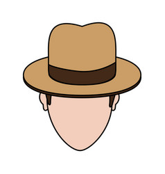 Color image cartoon faceless man with hat and bow vector
