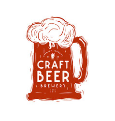 Craft beer mug and typographic emblem vector