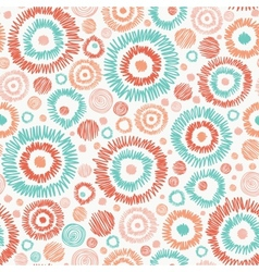 Doodle textured circles seamless pattern vector