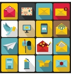 Email icons set flat ctyle vector image vector image
