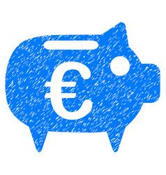 euro piggy bank grunge icon vector image