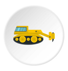 Excavator with hydraulic hammer icon circle vector