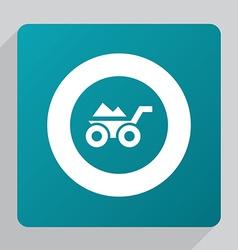 Flat construction wheelbarrow icon vector