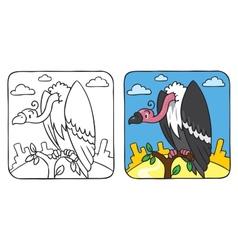 Funny vulture coloring book vector