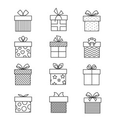 gift boxes thin line icons present box vector image