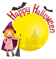 Girl in Halloween Witch Costume vector image