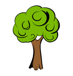 Green tree icon cartoon vector