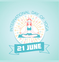 Greeting card day of yoga vector
