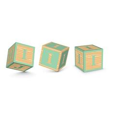 Letter i wooden alphabet blocks vector