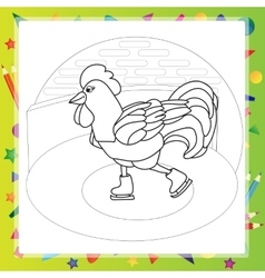 Rooster bird skate on skating ring - coloring book vector image vector image