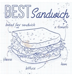 Sandwich recipe on a notebook page vector