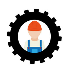 Silhouette in shape of gear with worker with vector