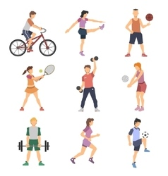 Sport People Flat Icons Set vector image