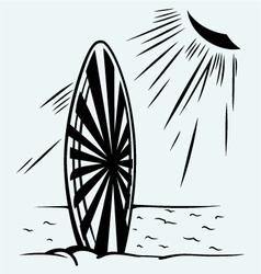 Surfboard on a beach vector image vector image