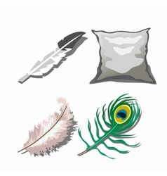 Three different feathers and white pillow vector image vector image