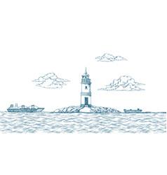tokarevskiy lighthouse in vladivostok vector image vector image
