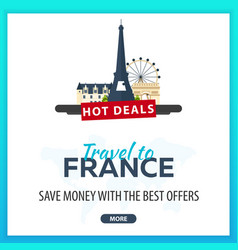 travel to france travel template banners for vector image