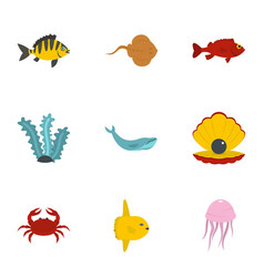 Underwater fauna icons set flat style vector