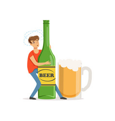 young man holding oversized bottle of beer vector image