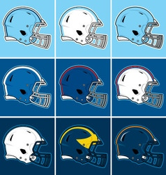 Colored football helmets in blue tones vector
