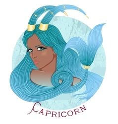 Astrological sign of capricorn as a african girl vector
