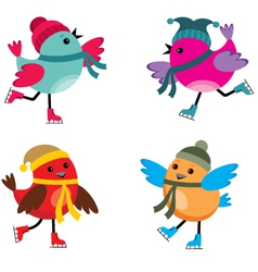 Birds on ice skates vector