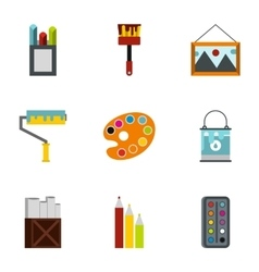 Creativity art icons set flat style vector