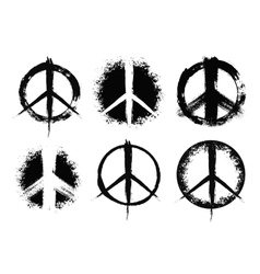 Pacifist peace symbols set painted vector image