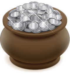 Clay ceramic pot with silver coins vector
