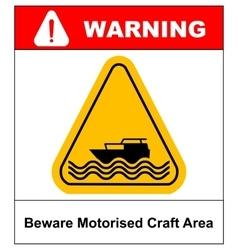 Beware of motorised craft area warning sign in vector