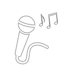 Microphone sign with music notes  black vector