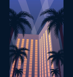 Hotel casino resort night vector