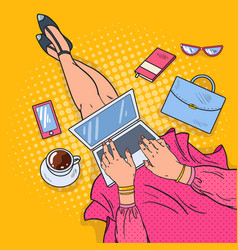 pop art young woman with laptop work at home vector image