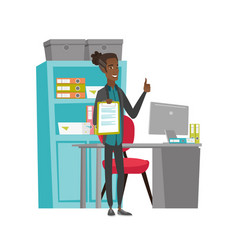 Young office worker with clipboard giving thumb up vector