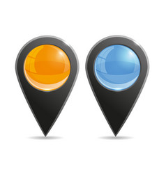 set of round 3d map pointers vector image