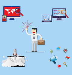 Businessman and set of office vector