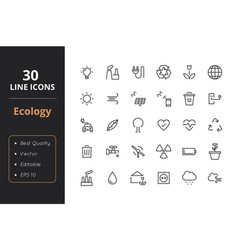 30 ecology line icons vector image vector image
