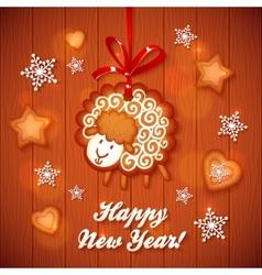 Sweet gingerbread cute sheep Christmas greeting vector image