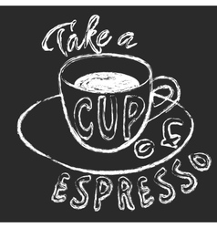 Chalk cup of espresso vector