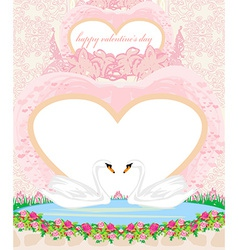 Wedding card with two romantic swans vector image