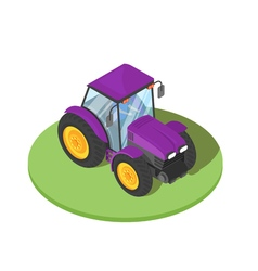 3d isometric of tractor with driver inside vector