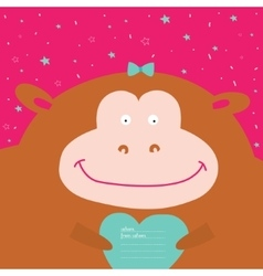 Greeting card with cartoon and funny character vector