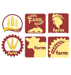 Farm two-color icon set vector