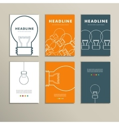 Six line patterns brochures with lights vector