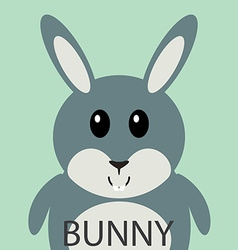 Cute grey bunny cartoon flat icon avatar vector