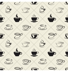 Coffee icons or emblem in seamless pattern vector