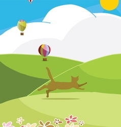 Happy cat run to the hills in sunny day vector