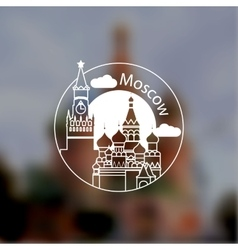 Minimalist round icon of moscow russia flat one vector