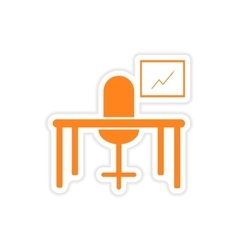 Stylish sticker on paper table chair chart vector