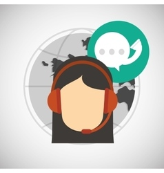 Call center design global communication flat vector
